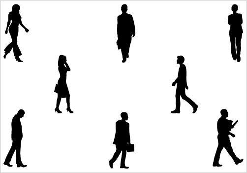 502x351 People Walking Silhouette Clipart