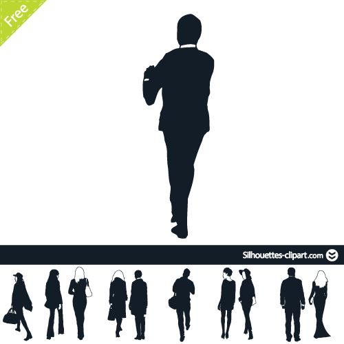 500x500 People Back View Point Vector Silhouette Silhouette