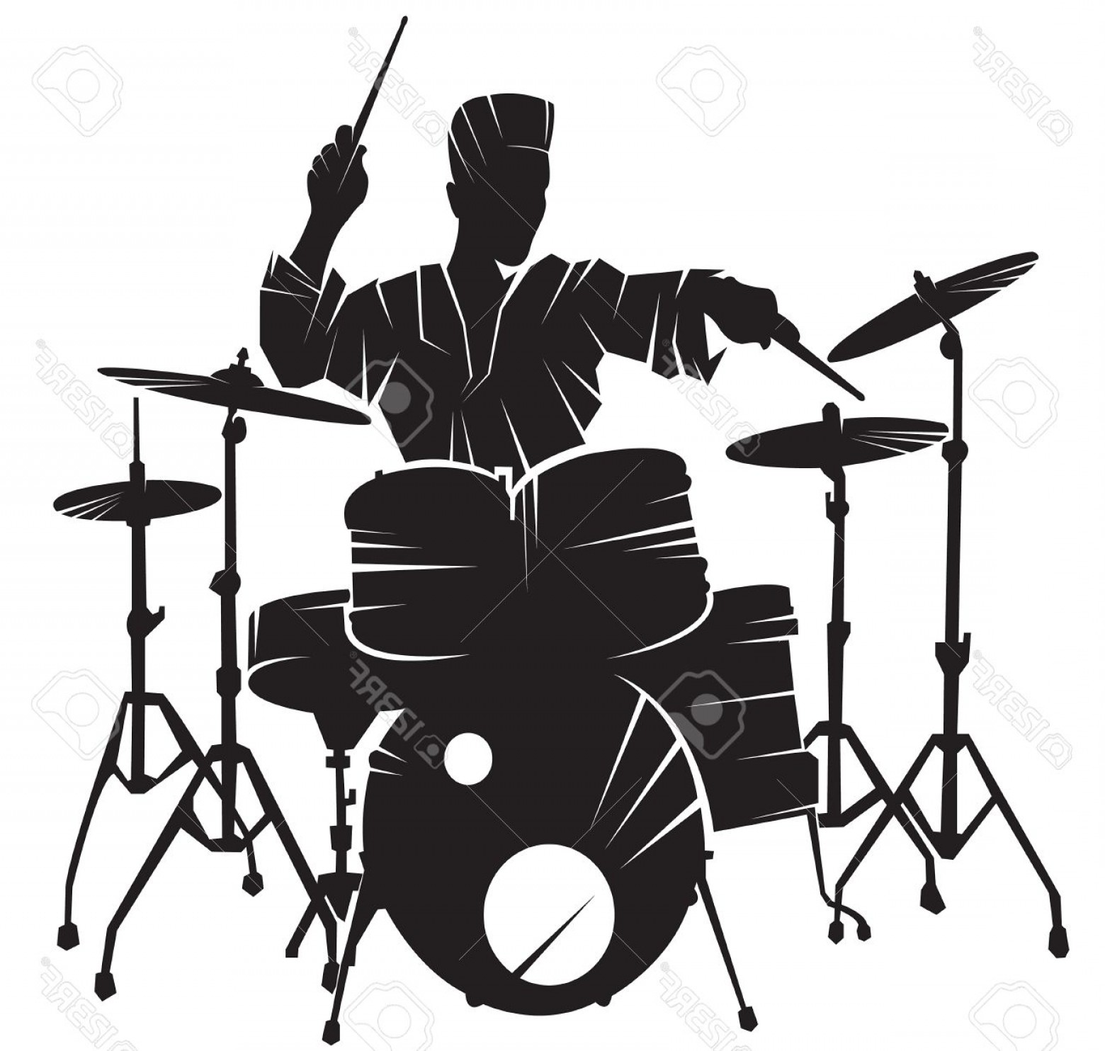 1560x1484 Photostock Vector The Musician Playing Drum Setting Vector