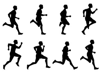 327x240 Running Male And Female, Jogging People Vector Silhouettes
