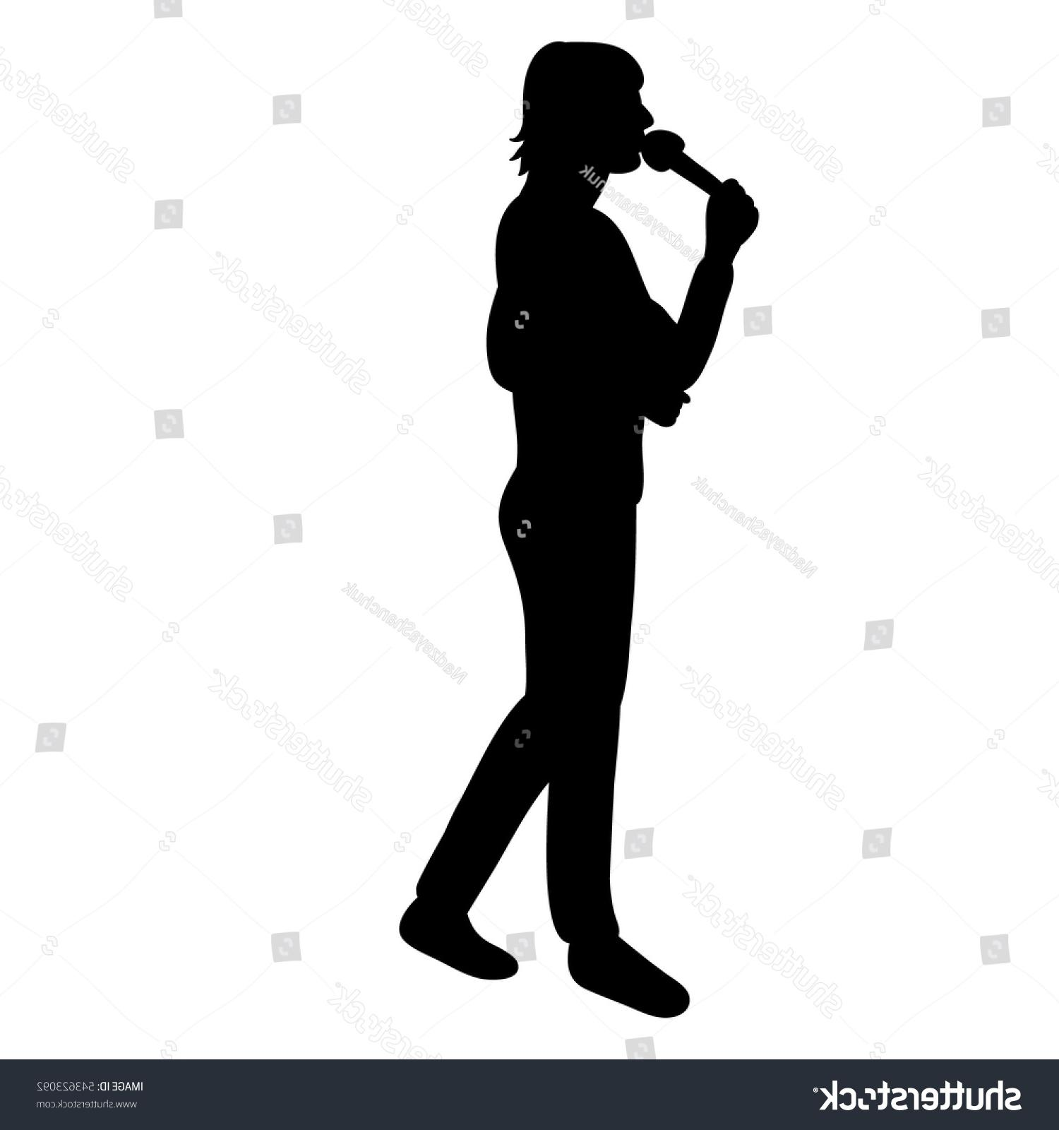 1500x1600 Top Stock Vector Silhouette Man Singing Into Microphone Library