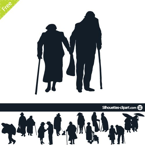 500x500 Vector Silhouette Of Old People Silhouettes