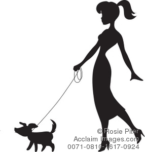 286x300 Free Clipart Illustration Of A Woman Walking A Dog