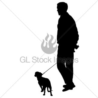 325x325 Silhouette Of Man And Dog On A White Background Gl Stock Images