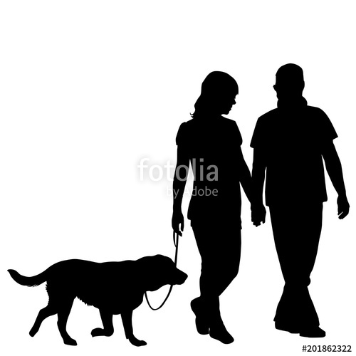 500x500 Silhouette Of Couple Taking Dog For Walk Stock Image And Royalty