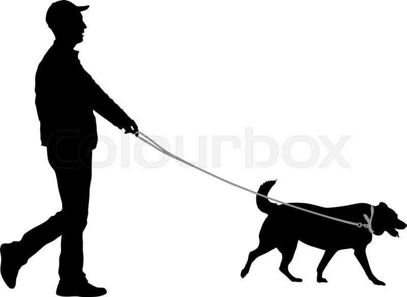 800x583 Silhouette Of Man And Dog On A White Background. Stock Vector