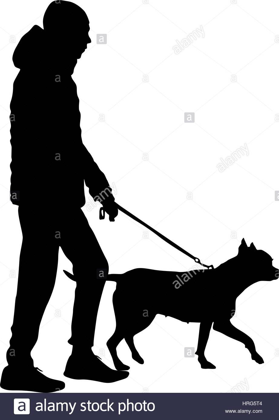 922x1390 Silhouette Of People And Dog. Vector Illustration Stock Vector Art