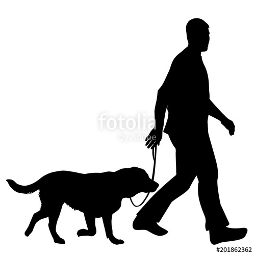 500x500 Silhouettes Of Man And Dog Stock Image And Royalty Free Vector