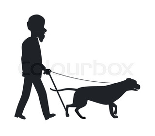 320x281 Blind Man Walking With His Dog Stock Vector Colourbox
