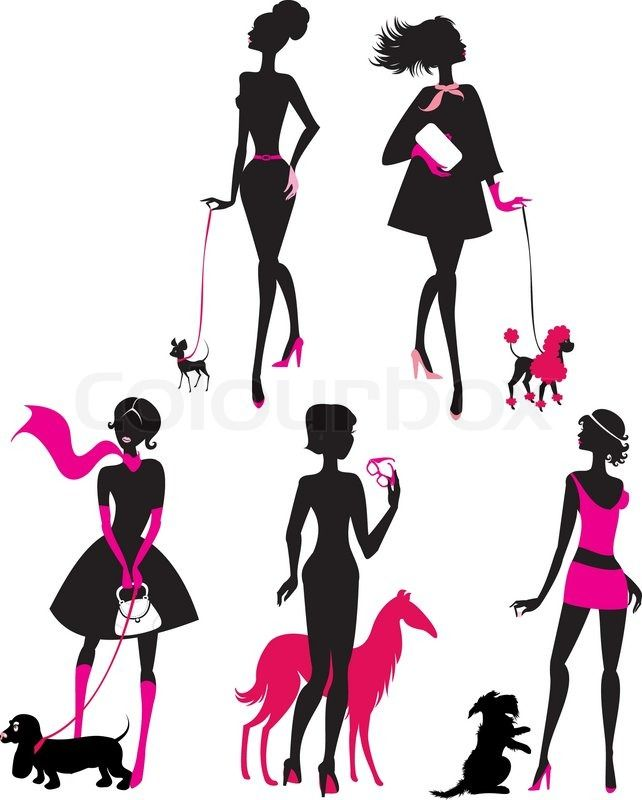 642x800 Girls Walking Dog Silohuete Set Black Silhouettes