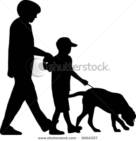 450x464 Of A Family Walking Thier Dog On A Leash