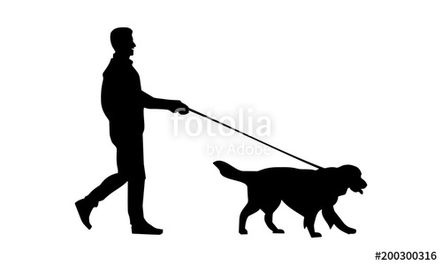 500x300 The Silhouette Of A Man Walking With His Pet Stock Image