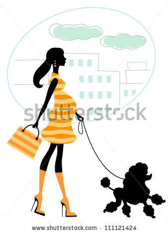 338x470 Woman Umbrella Walking Dog Silhouette Clipart