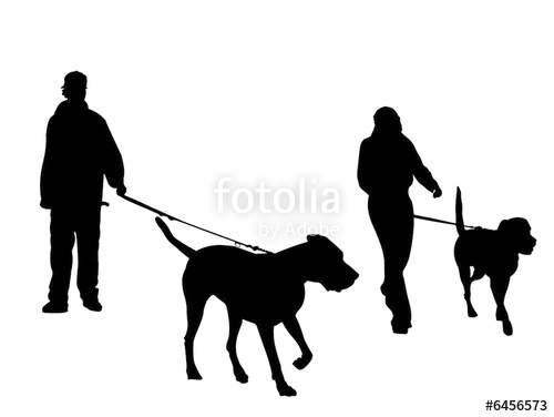 500x376 Young Couple Walking Dogs Silhouette Stock Photo And Royalty Free