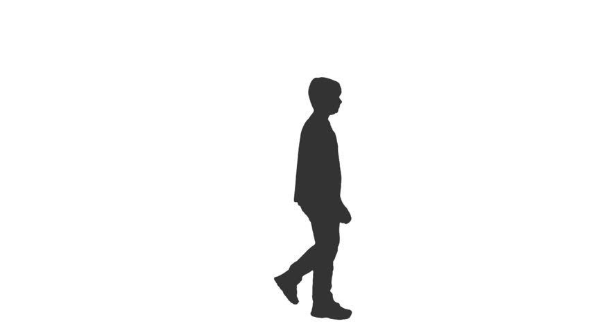 852x480 Silhouette Of A Teenager Walking. Side View. Full Hd Shot