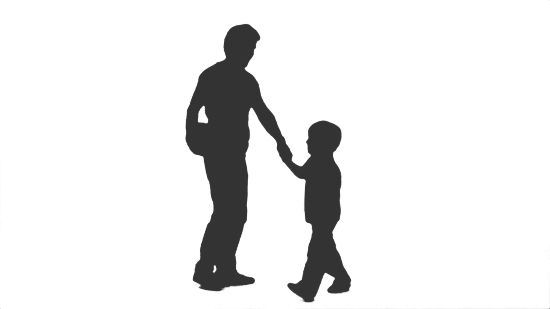 1920x1080 Silhouette Of A Man Walking With His Little Son, Side View. Full