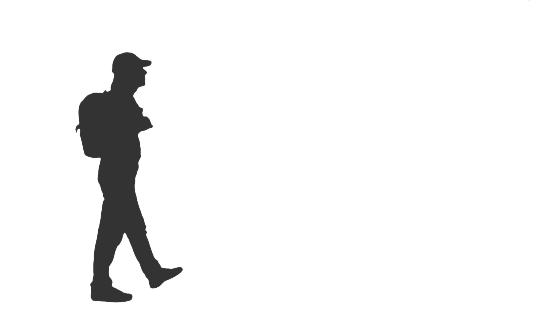 1920x1080 Silhouette Of A Young Man Walking With A Backpack. Side View. Full