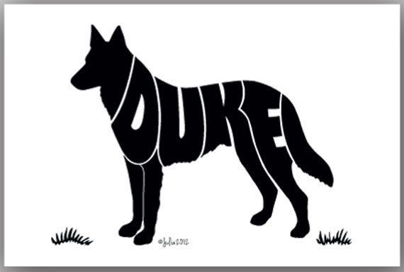 570x384 German Shepherd 7 X 5 (Or Larger) Personalized Custom Name Art