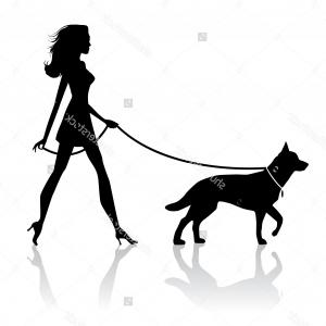 300x300 Lady Walking Dog Silhouette Clipart