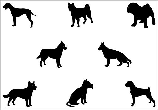 502x352 Dog Silhouette Vector