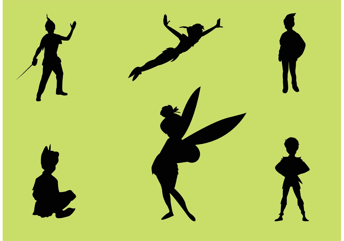 1400x980 Peter Pan Vector Silhouettes