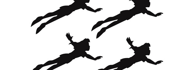 610x229 Peter Pan Flying Silhouette Cut Out Small