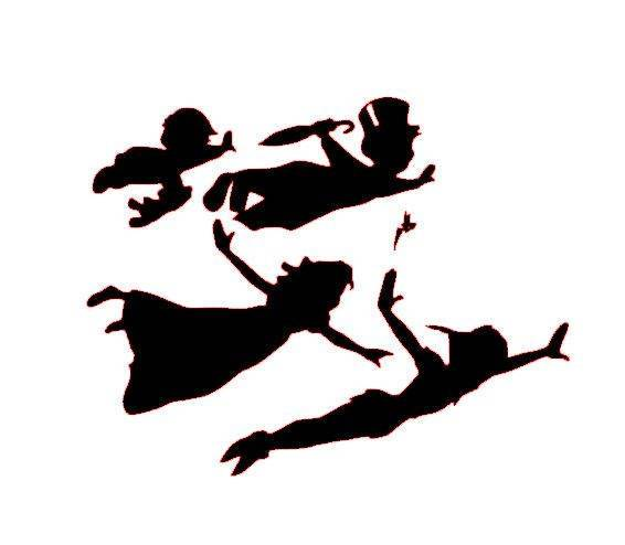 566x494 Peter Pan Tinker Bell Wendy Flying Vinyl Window Decal Sticker