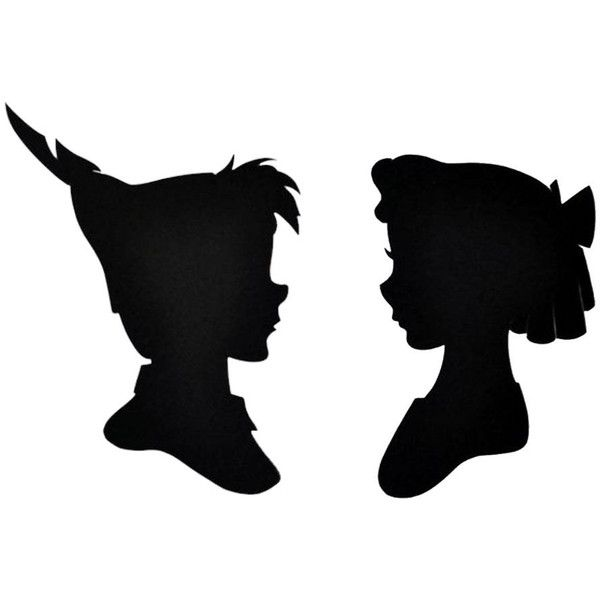 600x600 2 Peter Pan And Wendy Silhouette Temporary Tattoo, Various Sizes