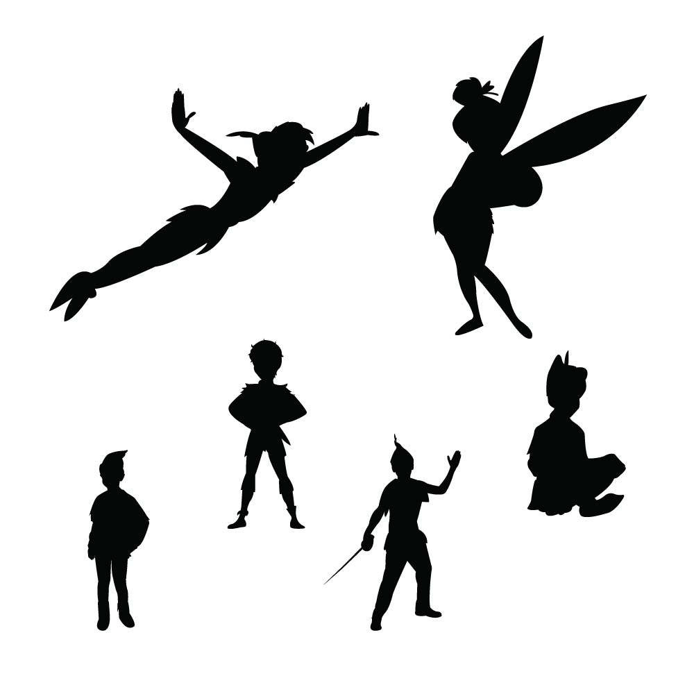 1000x1000 Peter Pan Cross Stitch Pattern Flying Silhouette Outstanding