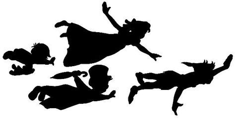 474x245 Peter Pan, Wendy, Michael And John Silhouettes. Free Jpg Or Svg