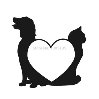 350x350 Dog Love Cats Pets Silhouette Car Window Sticker Vinyl Decal Funny
