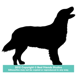 300x300 Flat Coated Retriever Dog Silhouette Gifts, Stationery, Address