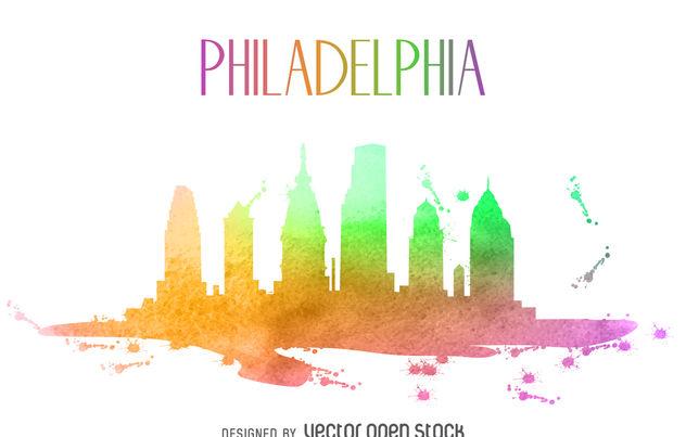 632x403 Philadelphia Watercolor Skyline Silhouette Free Vector Download