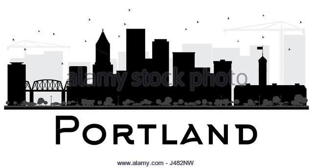 640x345 Portland City Skyline Silhouette Background Stock Photos