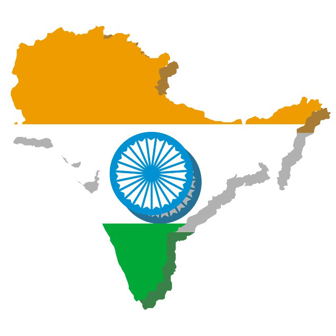 660x660 Vector Map Of India With Flag