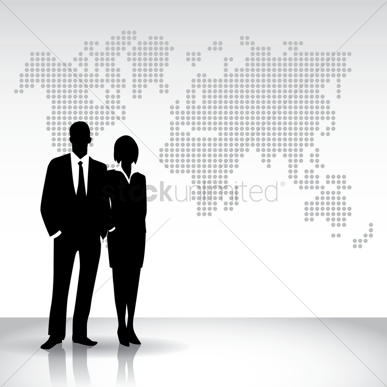 1300x1300 Business People Silhouette Against World Map Vector Image