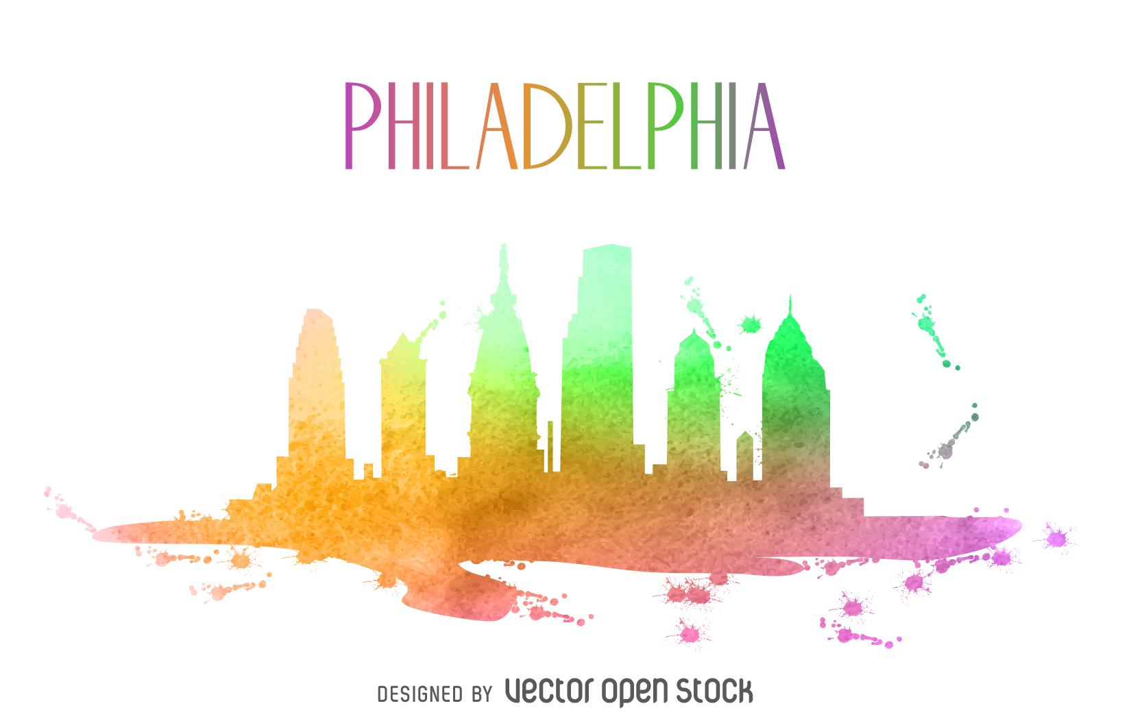 1650x1052 Philadelphia Watercolor Skyline Silhouette