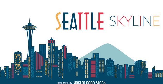632x328 Seattle Skyline Silhouette Free Vector Download 377113 Cannypic