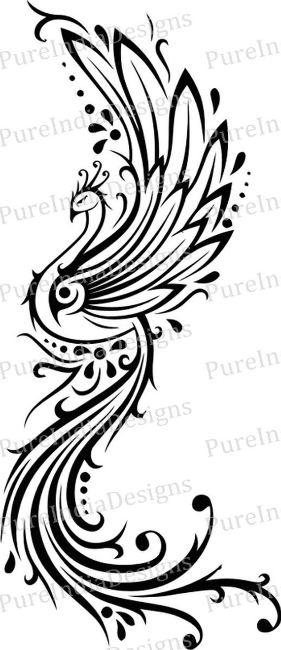 570x1318 Phoenix Tattoo Svg Peacock Tattoo Bird Phoenix Vector
