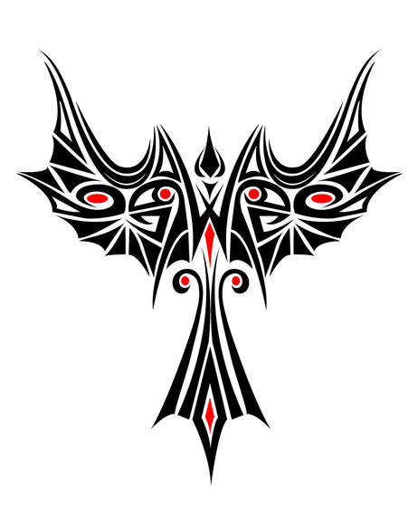462x570 Beautiful Phoenix Tribal Tattoo