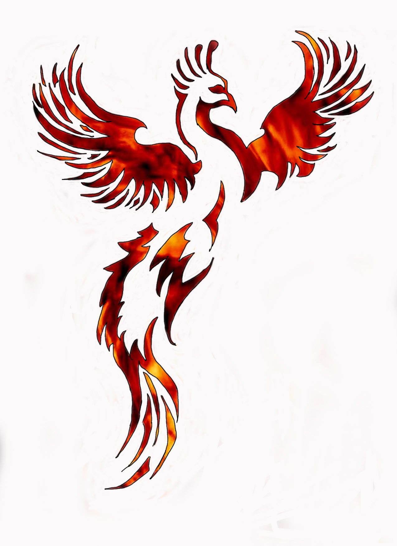 1275x1753 Interesting Silhouettecutout Idea Phoenixfeather Tattoo