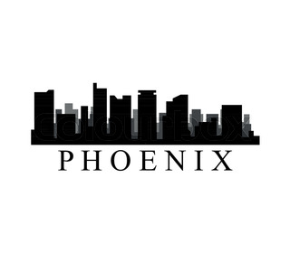 320x280 Phoenix Arizona City Skyline Silhouette Black Background Stock