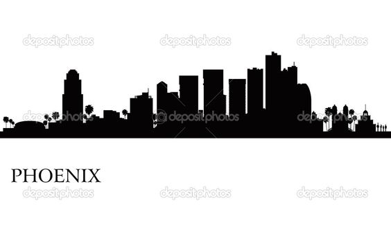 564x338 Phoenix city skyline silhouette background