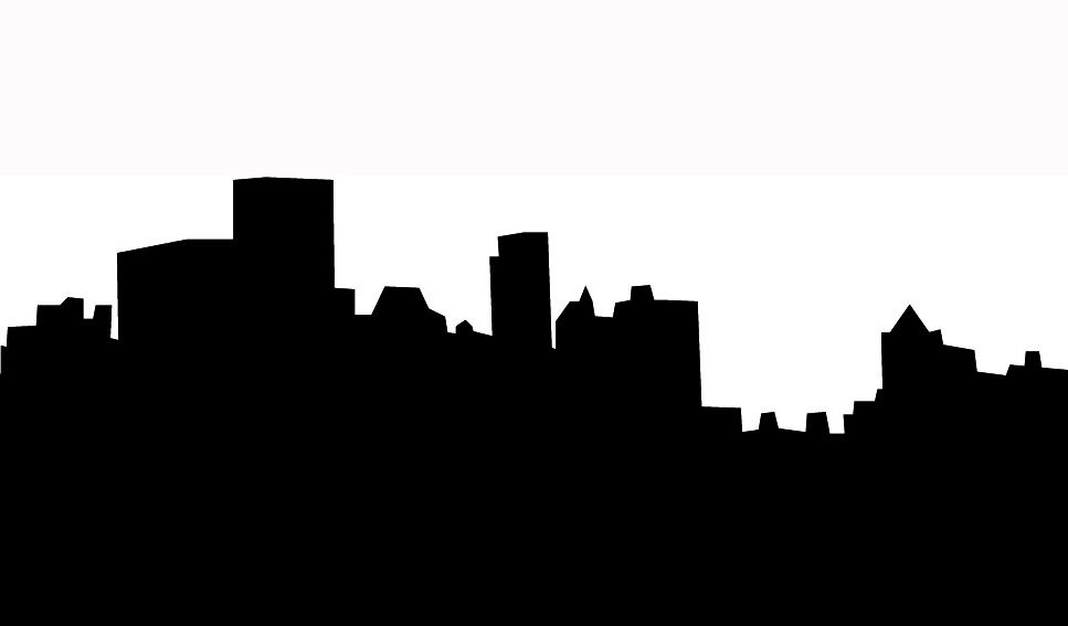 967x567 Skyline silhouette of city black white silhouettes Pinterest