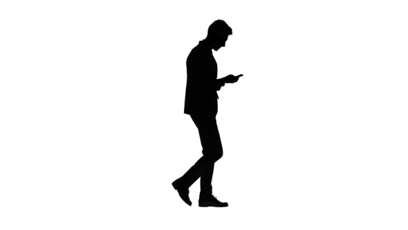 590x332 Man Goes To Work And Talks On The Phone. White Background