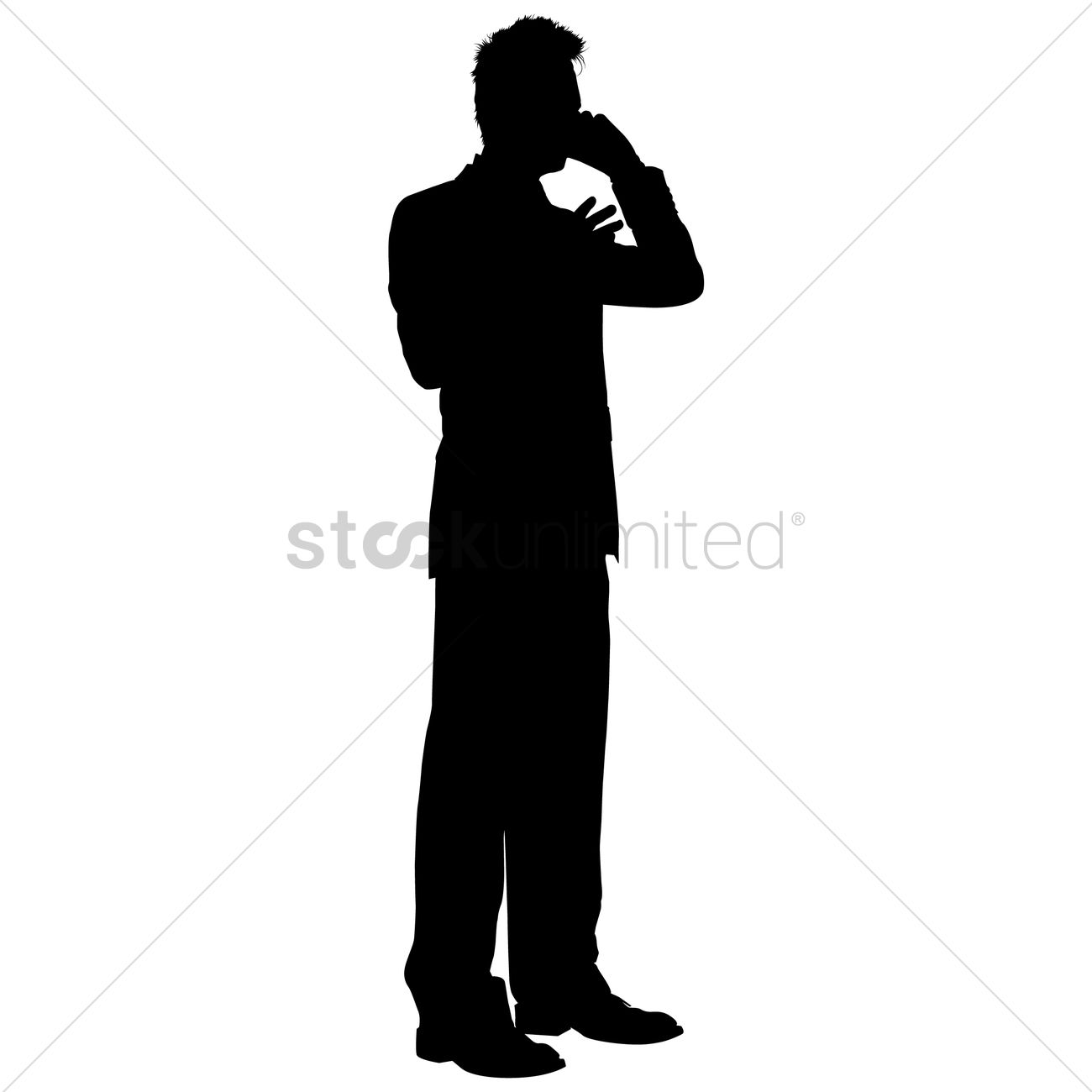 1300x1300 Businessman Talking On A Phone Silhouette Vector Image
