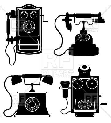 362x400 Phone Vintage Illustration Black Silhouette Isolated On White