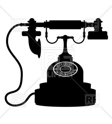 362x400 Silhouette Of Retro Phone Royalty Free Vector Clip Art Image