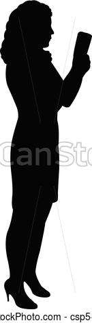 135x470 Lady With Smart Phone, Silhouette Vectors Illustration