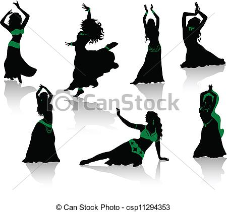 450x421 Belly Dance. Silhouettes Of Beauty Dancers. Clipart Vector